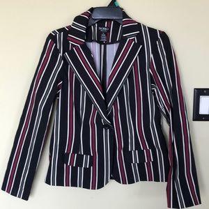 BOGO FREE Black red white striped blazer stretch